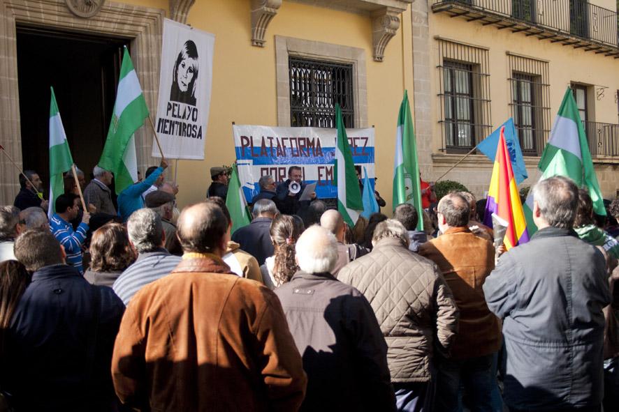 Un momento de la manifestación de la plataforma Jerez por el Empleo, el pasado sábado. Foto.- Pablo Uriel