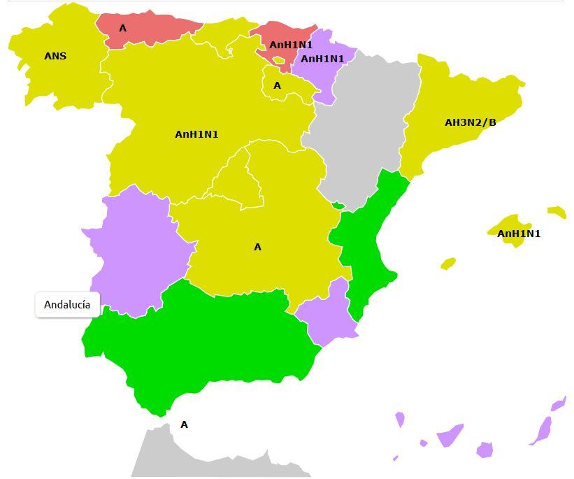Mapa de incidencia de la grupe en España. FOTO: ELTIEMPO.ES
